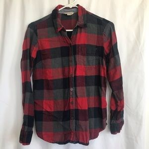 Lucky Brand red and black flannel shirt